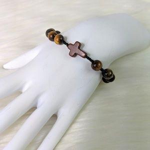 Semi Precious Stone Beaded Cross Stretch Bracelet